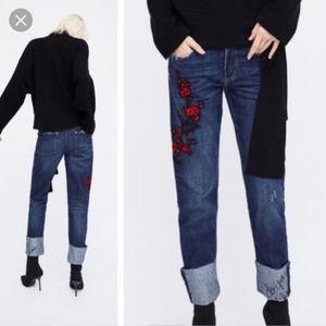 Zara Trafaluc Embroider Cigarette Straight Jeans